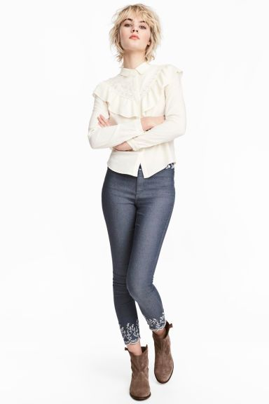 Embroidered trousers - Denim blue - Ladies | H&M GB 1