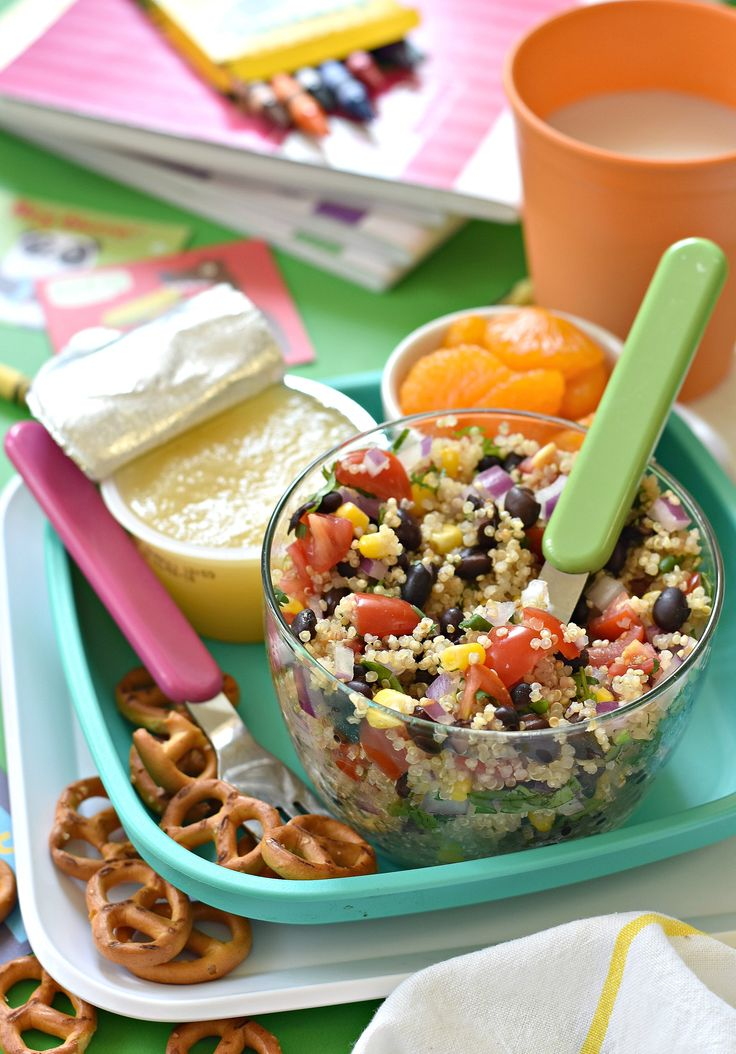 An easy recipe to make in a matter of minutes with an incredible pay off when your kid gives you 2 thumbs up for this Lunchbox Black Bean Quinoa Salad.