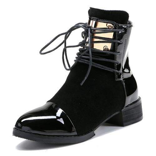 Women Boots Genuine Leather Women's Ankle Boot Fashion Sheetmetal Lace-up Platform Shoes Classic Martin Boots Woman XWN1296-5