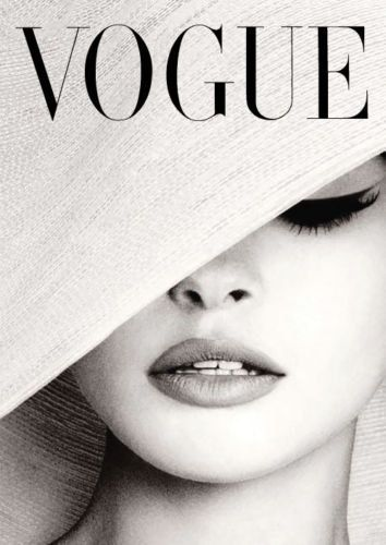 Vogue Cover White Hat Photography Poster Print Canvas – French, Vintage, Art Deco