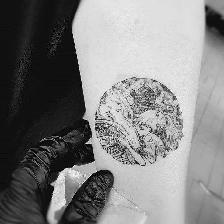 Spirited away Tattoo etching style blackwork vintage illustration studio ghibli Tattoo by Alexandyr Valentine Original Illustration by Kerby Rosanes
