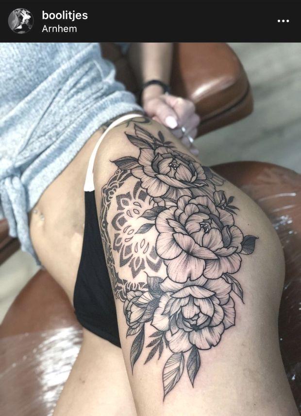 Big Thigh Tattoo Big Thigh Tattoo Idea Big Flowers Hip Tattoo Dotwork Peon Big Thigh Tattoo Big Th In 2020 Thigh Tattoo Hip Tattoo Floral Thigh Tattoos