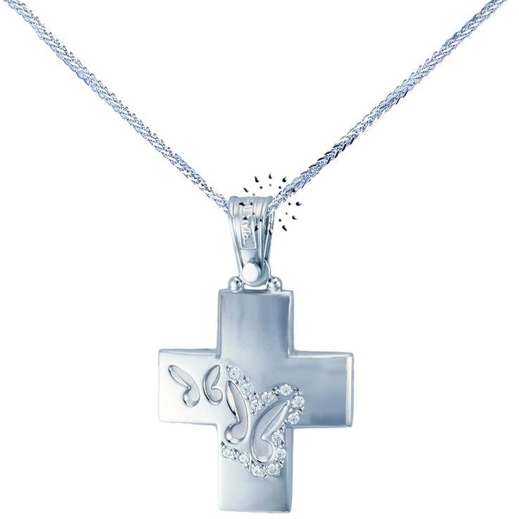Σταυρός 14 Καράτια Λευκόχρυσο με Ζιργκόν ΤΡΙΑΝΤΟΣ  555€  http://www.kosmima.gr/product_info.php?products_id=16663