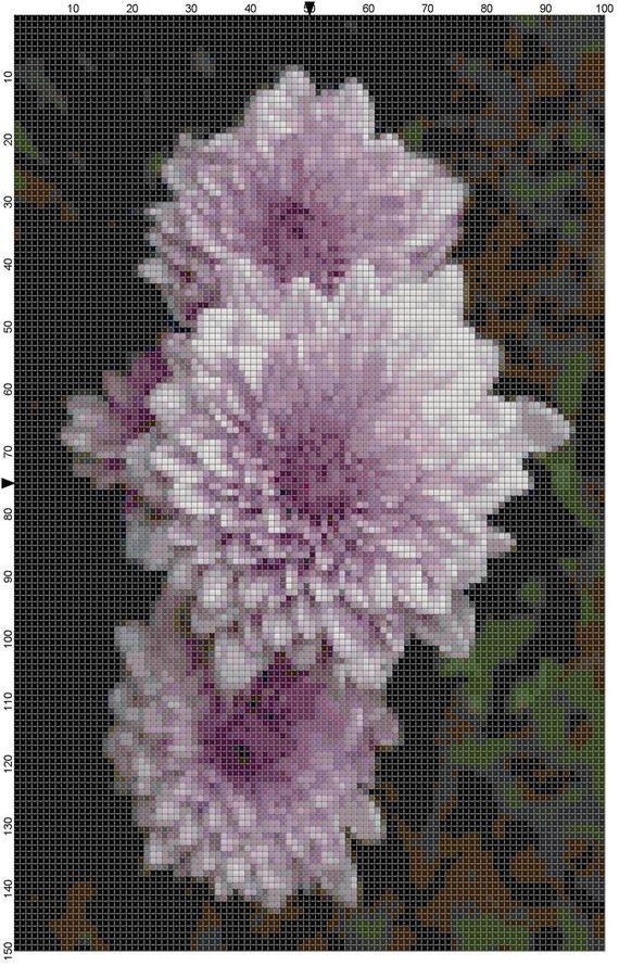 Cross Stitch Pattern Lavender Dahlias by theelegantstitchery, $10.00