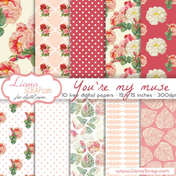 Free digital paper pack – You're My Muse Set