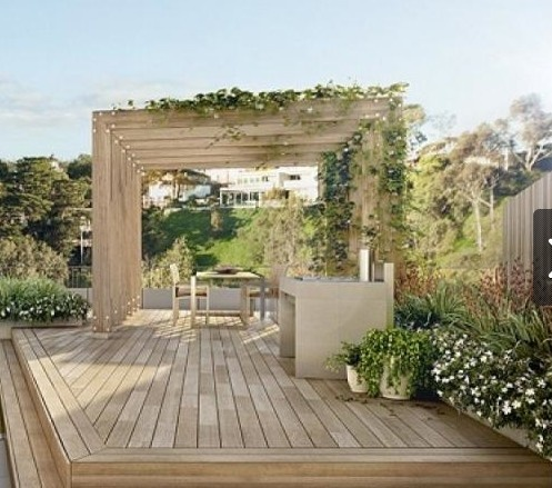 "I love the way the decking and the pergola perfectly match. Simple design with excellent sense of ""space""."
