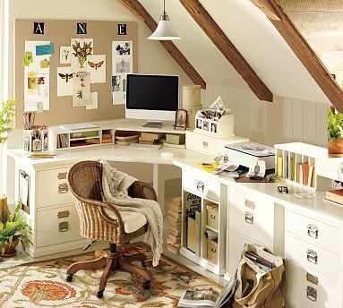 corner deskOffice Designs, Corner Desks, Offices Spaces, Crafts Room, Workspaces, Offices Ideas, Attic Offices, Home Offices Design, Pottery Barns