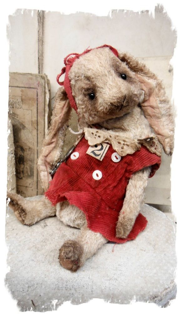 """Изображения новой конструкции * 9.5"""" Винтаж стиль с длинным вислоухим кроликом в платье * по Whendi медведей"""
