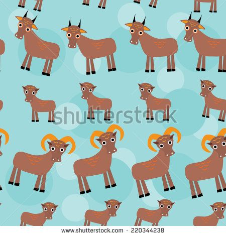 Set of funny animals with cubs. Goats seamless pattern on a blue background. vector - stock vector