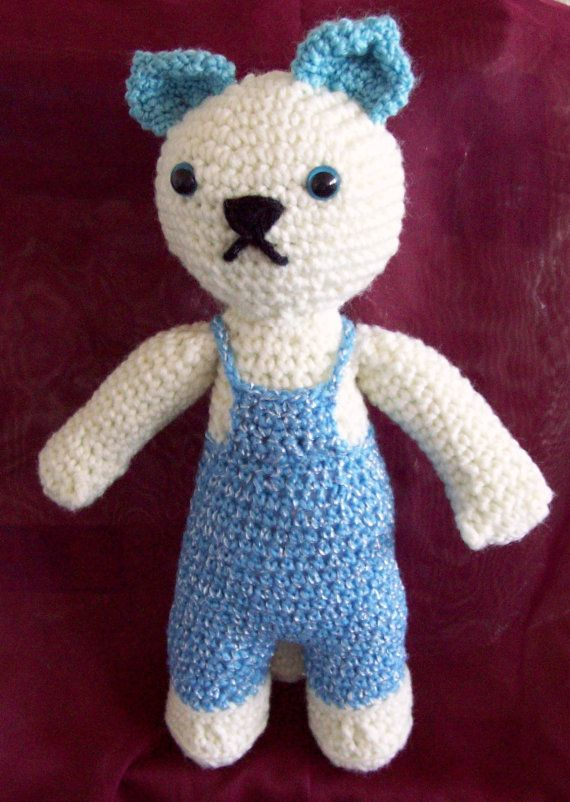 White and Blue Kitty Cat in Blue Overalls by TanzaHandcrafted