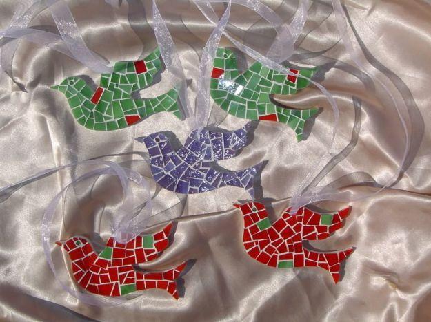 Lavoretti di Pasqua colombe mosaico