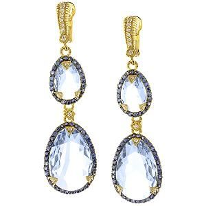 Judith Ripka Capri Two Tone Large Stone Earrings