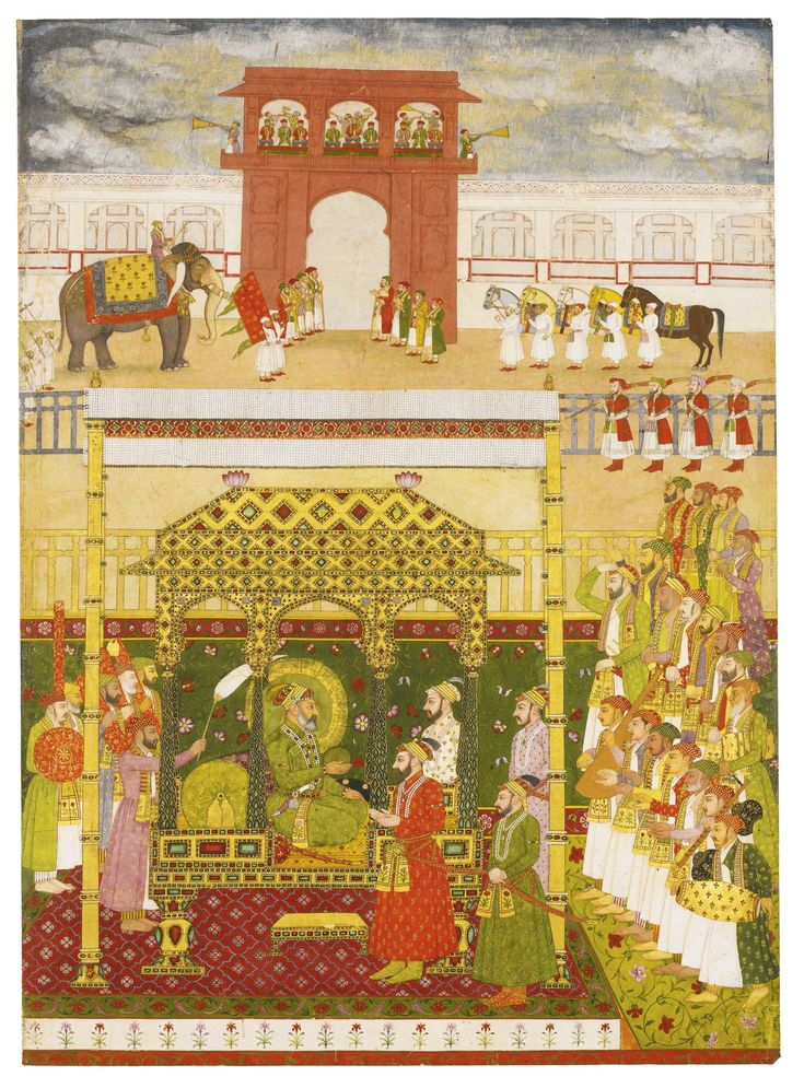 The Emperor Bahadur Shah I enthroned, attributable to Bhavanidas, Mughal, circa 1707 | lot | Sotheby's
