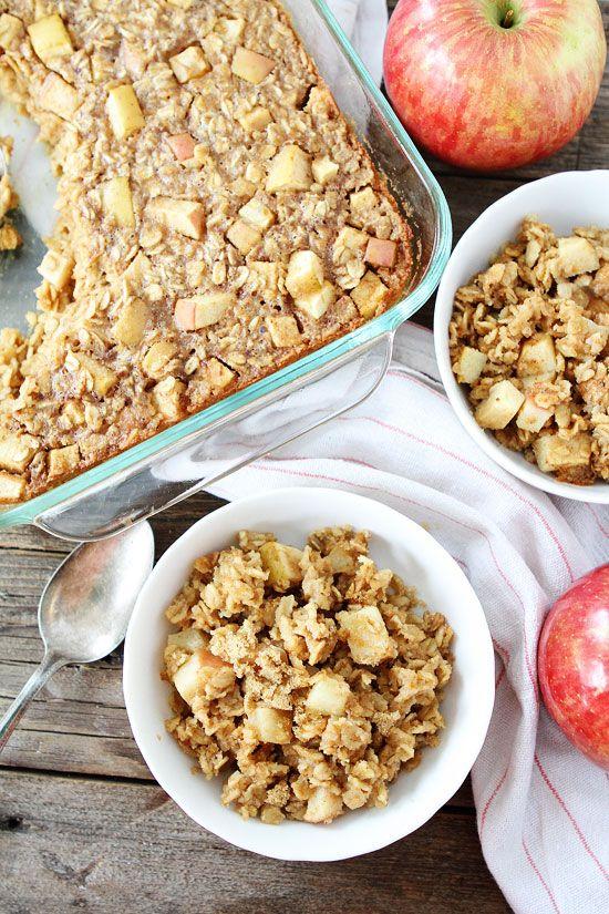 Baked Peanut Butter Apple Oatmeal Recipe on twopeasandtheirpod.com