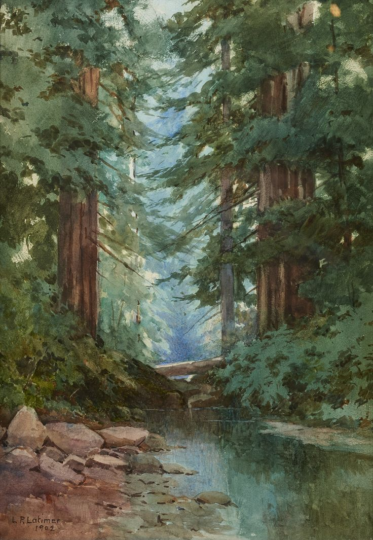L.P. Latimer, Redwoods, Creek, 1902, Watercolor, Collection of Roger and Kathy Carter