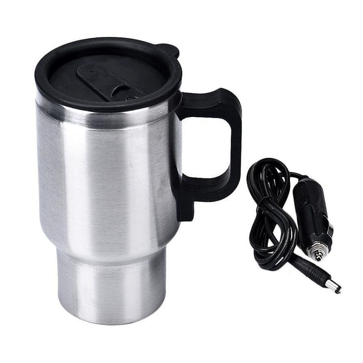 DC 12V Silver Stainless Steel Car Heating Cup Electric Mug, Thermos Type Heating, Hot Drink, Auto Supplies