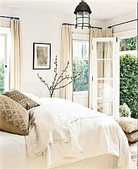 love french doors!! especially in the bedroom. I also love white with cream and beige mixed together! I love me some neutrals! @ MyHomeLookBookMyHomeLookBook