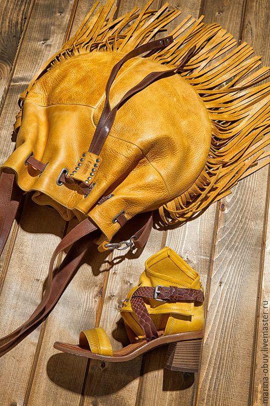 Обувь ручной работы. Ярмарка Мастеров - ручная работа. Купить Летние кожаные сандалии и сумка комплект. Handmade. Натуральная кожа
