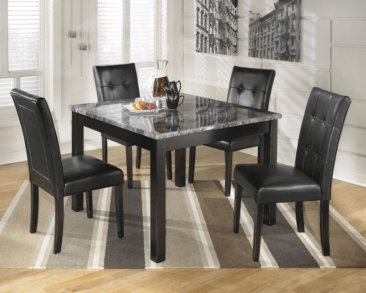 Black faux marble top dining table