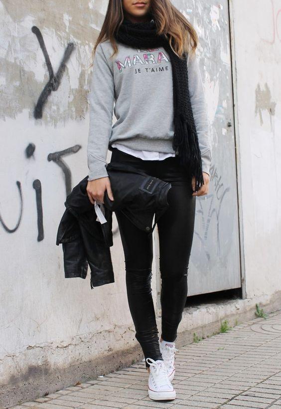 outfit negro para la universidad