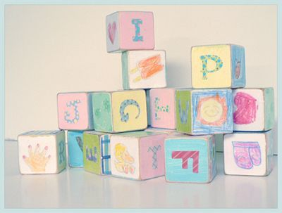 DIY :: Alphabet BlocksAlphabet Block, Art Crafts, Crafts Ideas, Baby Shower Activities, Baby Shower Ideas, Gift Ideas, Baby Shower Centerpieces, Baby Block, Homemade Baby Gift