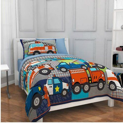 Firetruck Police Heroes Trucks Boy Comforter Set TWIN 5 Piece Bed In A Bag ** Click on the image for additional details. #BeddingSetsCollections