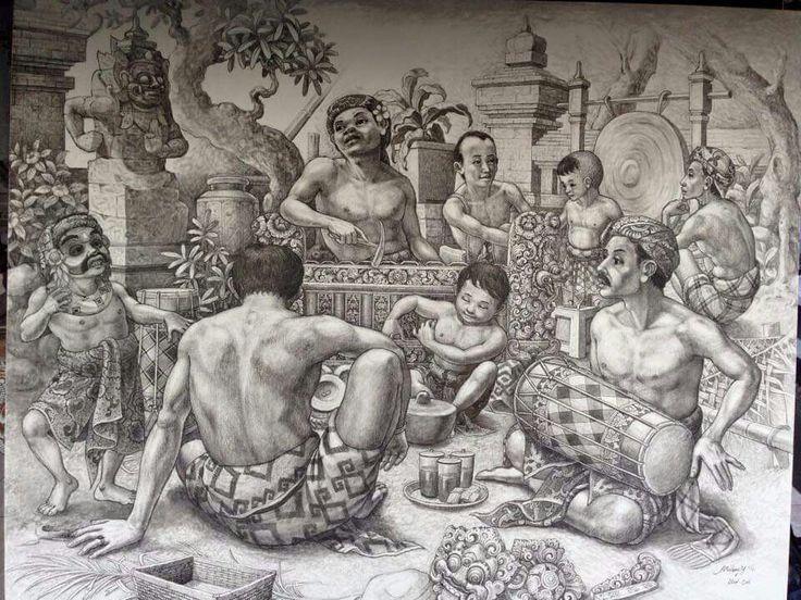 "Traditional balinese painting  Made by profesional local Painter ""I Made Mudana Yasa"""
