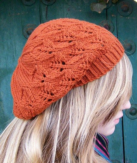 Knitting pattern for Falling Leaves Beret - This lace hat by ApiaryKnits is a perfect one skein project, because it takes approximately 175 yards of worsted weight yarn.