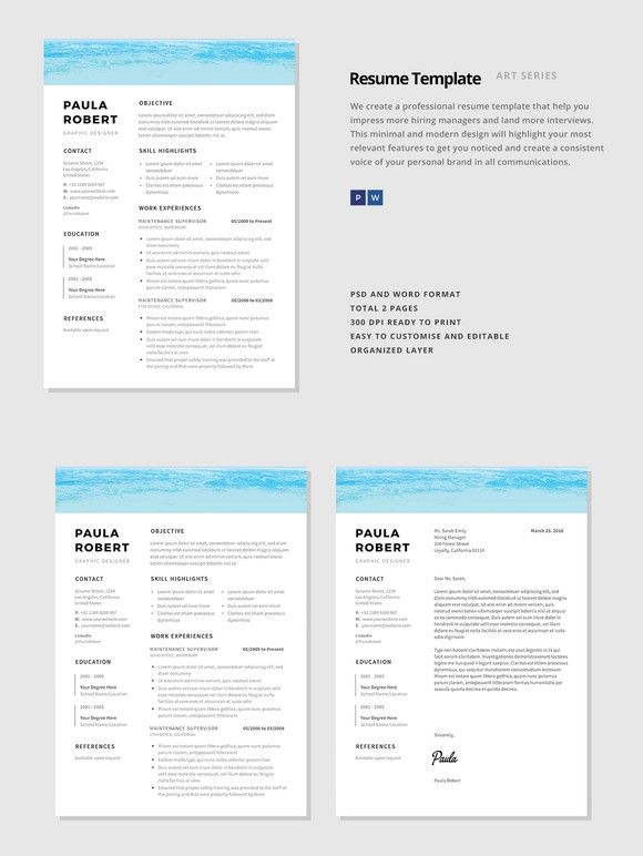 "Resume Template - ""Sea"". Nursing Resume. $15.00"