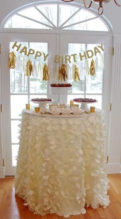 Gold & champagne birthday party! See more party planning ideas at CatchMyParty.com!
