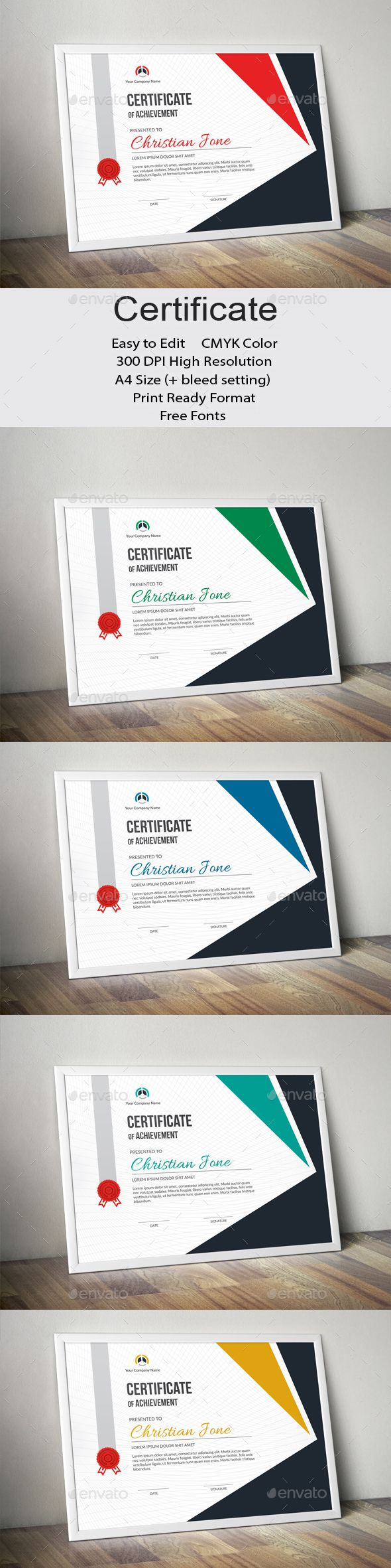 Corporate Certificate Design Template - Certificates Stationery Dseign Template Vector EPS, AI Illustrator. Download here: https://graphicriver.net/item/certificate/19446460?ref=yinkira
