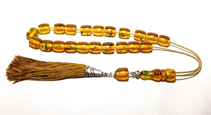 Honey-Green Amber color Worry Beads, Handmade Greek Komboloi, Tesbih, Handmade Gold color tassel, Relaxation, Meditation. Code: sd2084_21 by AlterDecoCoinsnBeads on Etsy