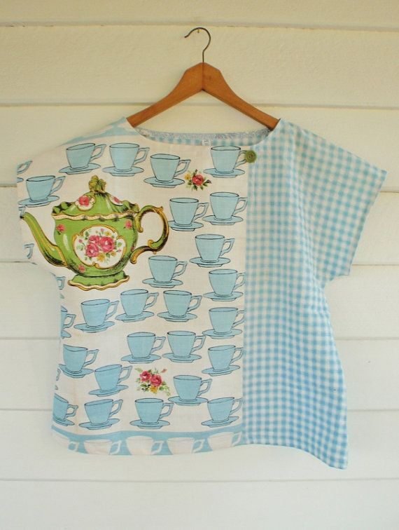 Hey, I found this really awesome Etsy listing at http://www.etsy.com/listing/164378877/upcycled-tea-towel-patchwork-women-top