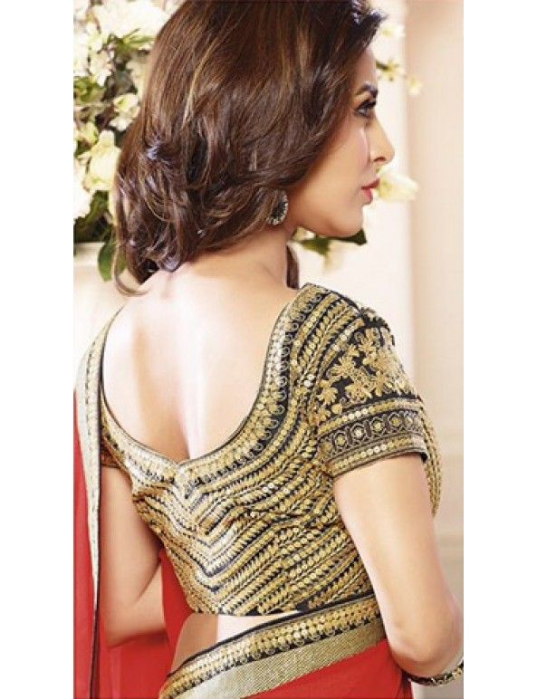 Sophie Choudry In Red Georgette Jacqard Embroidered Saree