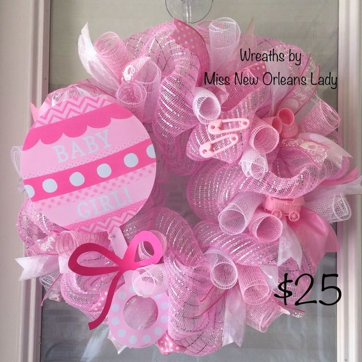 PINK DECO MESH BABY GIRL WREATH | eBay