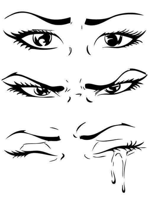 face expresions - eyes  it goes from ''upset'' to ''sad'', going through ''angry''. Useful reference!