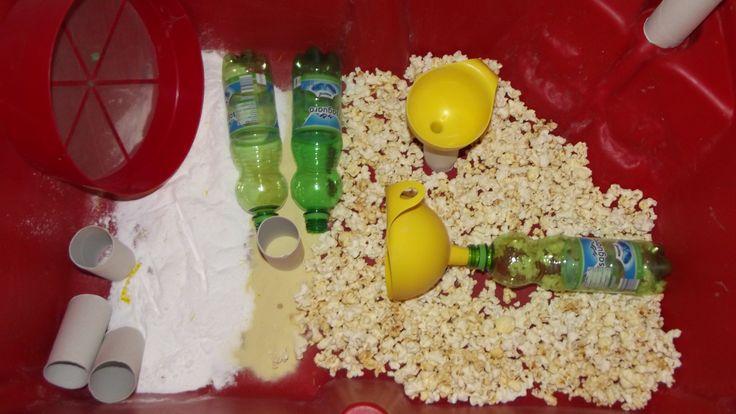 Pop corn and powder sugar sensory play School Years @ Acorns Nursery Bucharest