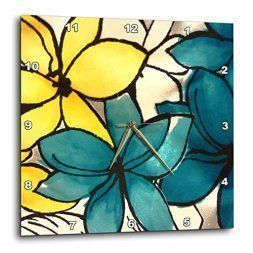 Yellow is a sporty fun and playful color which is why I love  yellow home wall art décor. Yellow wall  art is the epitome of lively and bold.  Yellow is a happy color and therefore great for decorative accents. Yellow decorative accents look amazing in any  room. #yellow #yellowdecor      3dRose dpp_32104_3 Teal and Yellow Floral Wall Clock, 15 by 15-Inch