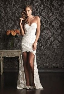 Hi-lo wedding dress? Yes, but with lace cap sleeves!