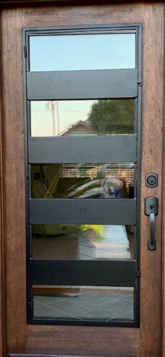 Modern Wood And Iron Entry Doorcontemporary Door Minimalist Etsy In 2020 Modern Exterior Doors Iron Entry Doors Contemporary Front Doors