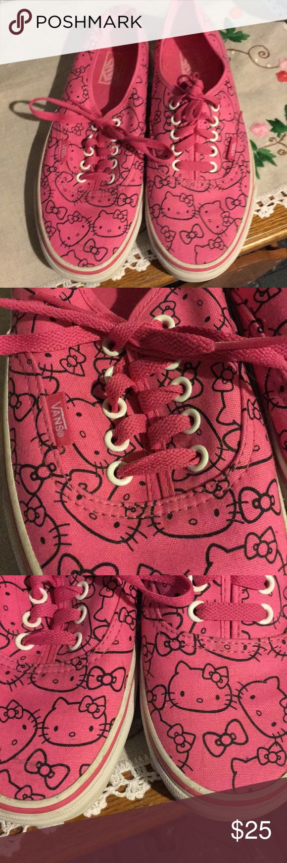 Vans Authentic Pink Hello Kitty shoes Lovingly worn pink Hello Kitty Vans size 10 womens. Vans Shoes Sneakers