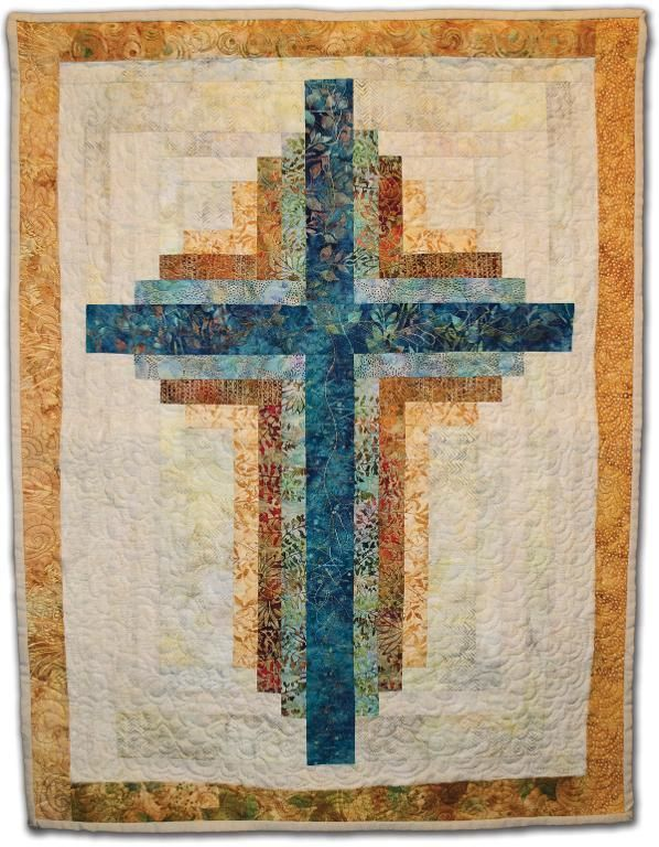 Log Cabin Cross Wall Hanging - via @Craftsy-- I'd love to make lap blankets for my mom and bfs mom.