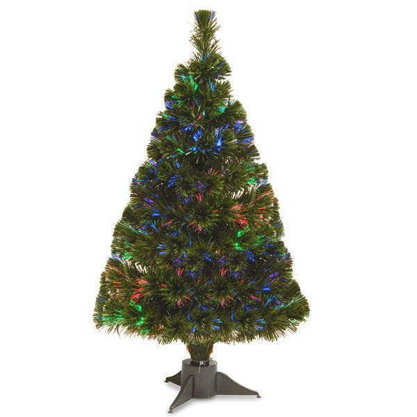"Fiber Optic Christmas Tree 32"" Multicolor LED Battery Operated Timer Decoration #NationalTreeCompany"