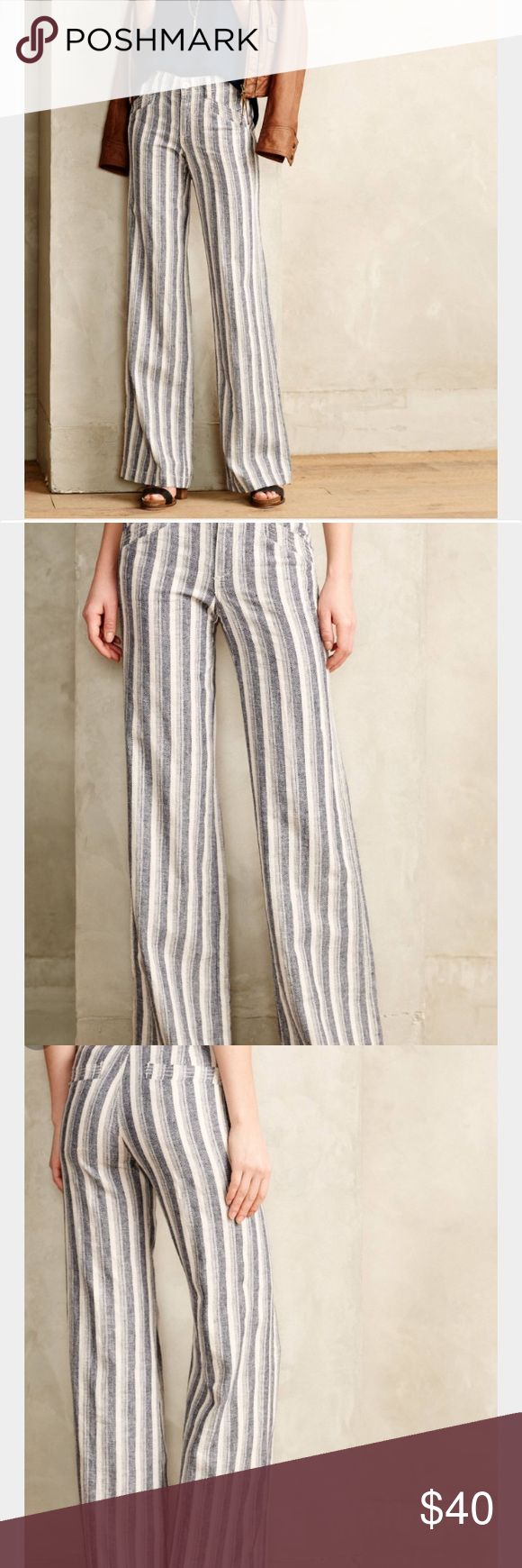 Pilcro Stripe Linen Trouser Blue and white linen trousers by Pilcro. Listed at size 4, fit like size 2. Worn only a few times. Anthropologie Pants Boot Cut & Flare