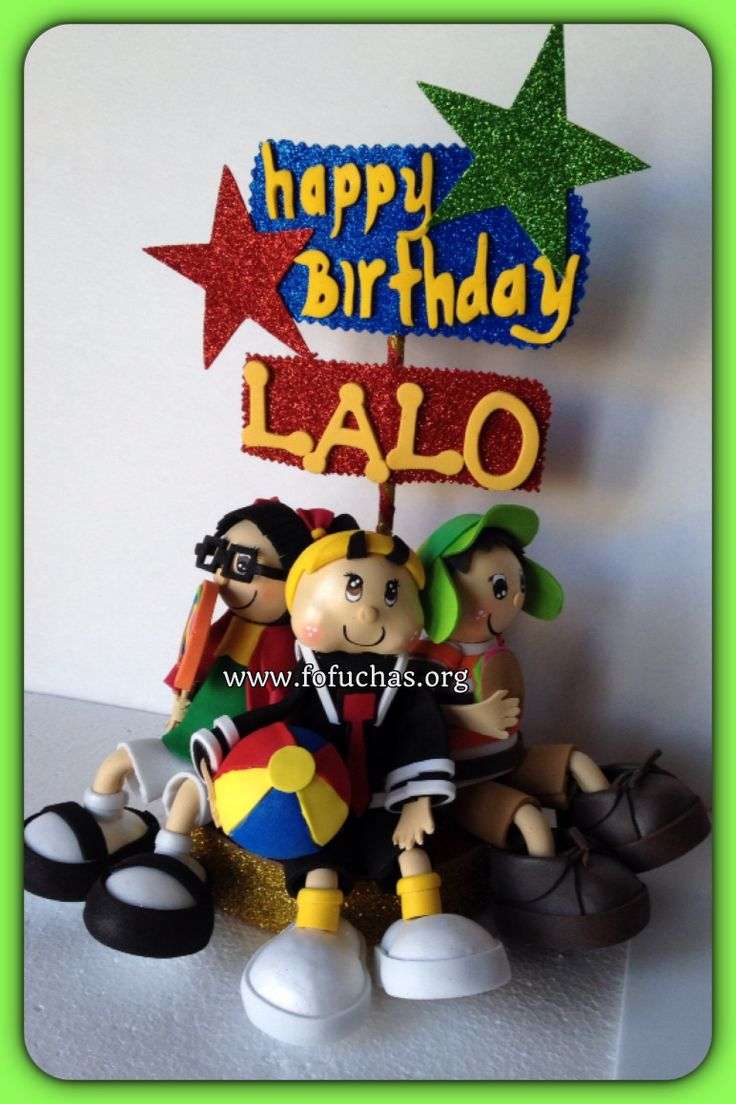 Handmade cake topper with El Chavo del Ocho characters made using foam sheets.  Characters sit on a round base. Can also be used as a centerpiece. characters in this cake topper are El Chavo, La Chilindrina and Kiko. You can order by emailing info@fofuchas.org or visit us at www.facebook.com/fofuchashandmadedolls  #ElChavoDelOcho #LaChilindrina #fofuchas #Birthday