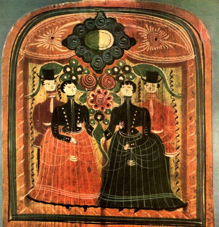 люди в городецкой росписи