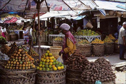 Asia, indonesia, sumatra, brastagi, market scene