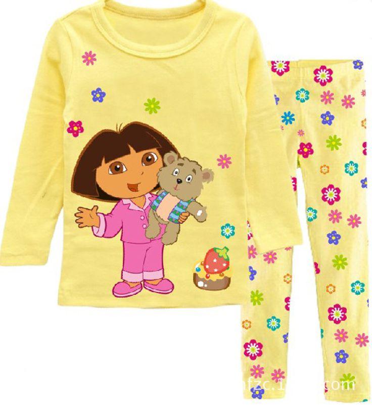 Купить товарДевочка в одежда комплект весна хлопок девочки младенцы комплект дети пижамы костюм пижама дора комикс принт t   рубашки + брюки в категории Комплекты одеждына AliExpress.                          Евро Мода девушка набор одежды для лета цветок sets100 % хл