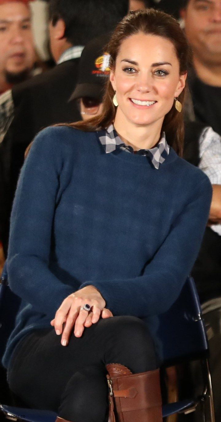 hrhduchesskate:  Canada Tour, Day 3, Bella Bella, British Columbia, September 26, 2016-For a rainy day of cultural events, the Duchess of Cambridge paired a Topshop navy blue gingham shirt with a blue jumper, Zara jeans, her Penelop Chivers Long Tassel Boots, Holland and Holland Leightweight Multipocket Safar Jacket, and new earrings by Canadian designer Pippa Small