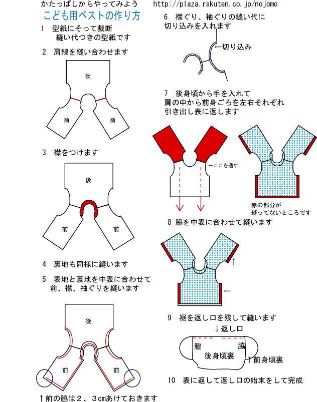 子供用ベスト(ちゃんちゃんこ)の作り方